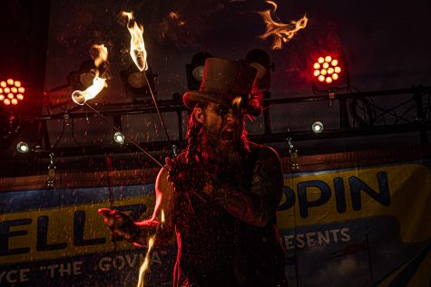 "Performer, Bryce Graves aka ""The Govna""  performs as part of Hellzapoppin Circus Sideshow Revue at Wildwood Saloon on Saturday, April 3, 2021. Hellzapoppin is a touring act harkening back to the days of circus freak shows updating the concept for a modern audience."