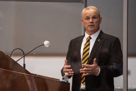 Dean of the UI College of Education Daniel Clay adresses spectators and answers questions at the Levitt Center for University Advancement on Thursday, April 22, 2021. Clay is one of four finalists to become the next president of the University of Iowa.