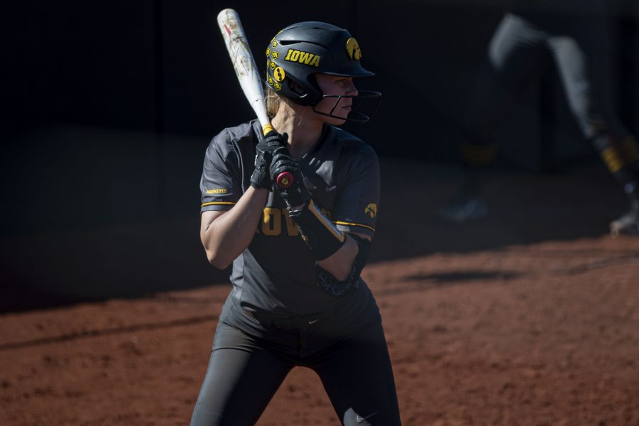 Iowa utility player Denali Loecker watches for a pitch during a softball game against Nebraska on Friday, May 7, 2021 at Pearl Field. The Hawkeyes defeated the Huskers, 1-0.