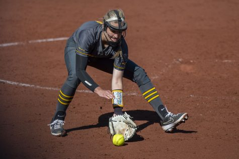 Iowa right handed pitcher Allison Doocy catches a ground ball during a softball game against Nebraska on Friday, May 7, 2021 at Pearl Field. The Hawkeyes defeated the Huskers, 1-0.