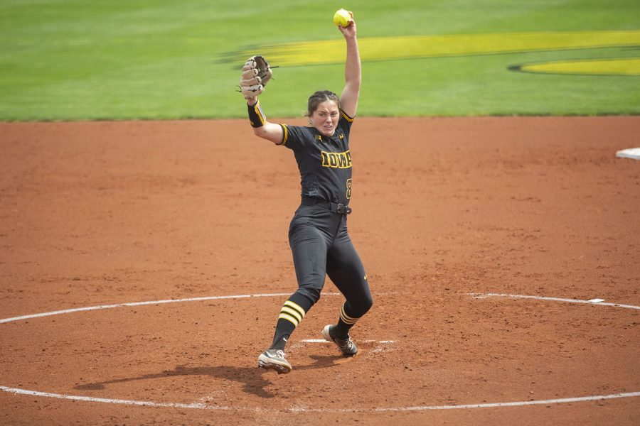 Iowa pitcher Lauren Shaw pitches the ball during the Iowa softball game v. Nebraska at Pearl Field on Saturday, May 8, 2021. The Huskers defeated the Hawkeyes with a score of 4-0.