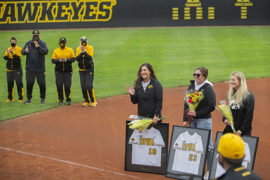 The 2020 seniors are recognized after the Iowa softball game v. Nebraska at Pearl Field on Saturday, May 8, 2021. These seniors' softball season was cut short due to COVID-19.