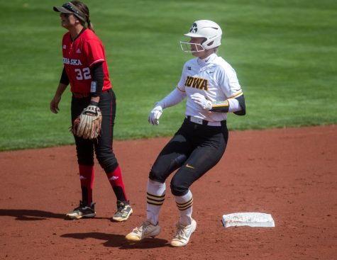 Iowa designated player Denali Loecker rounds second after reaching second on an error during a softball game between Iowa and Nebraska on Sunday, May 9, 2021 at Bob Pearl Softball Field. The Hawkeyes defeated the Cornhuskers  4-1.