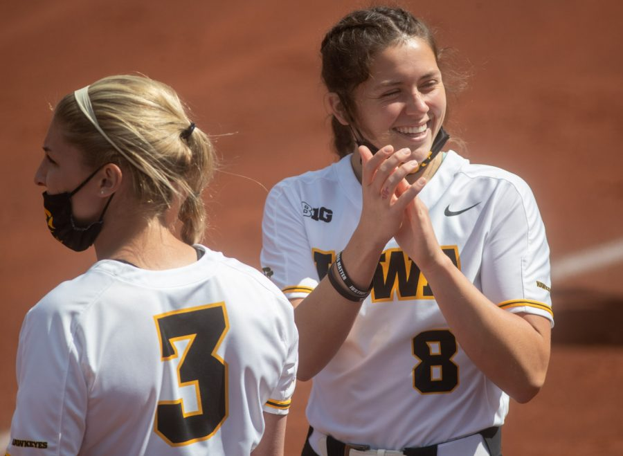 Iowa pitcher Lauren Shaw claps between innings during a softball game between Iowa and Nebraska on Sunday, May 9, 2021 at Bob Pearl Softball Field. The Hawkeyes defeated the Cornhuskers  4-1.