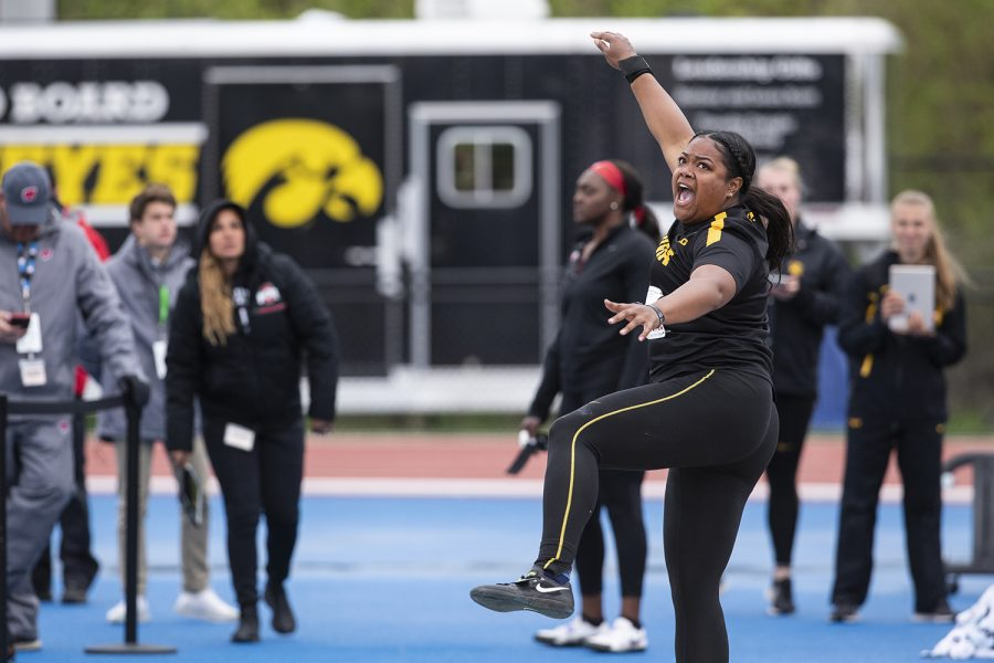 University of Iowa Junior, Laulauga Tausaga, competes in the shot put during the second day of the Big Ten Track and Field Outdoor Championships at Cretzmeyer Track on Saturday, May, 2019. Tausaga placed third in the women's shot put finals.