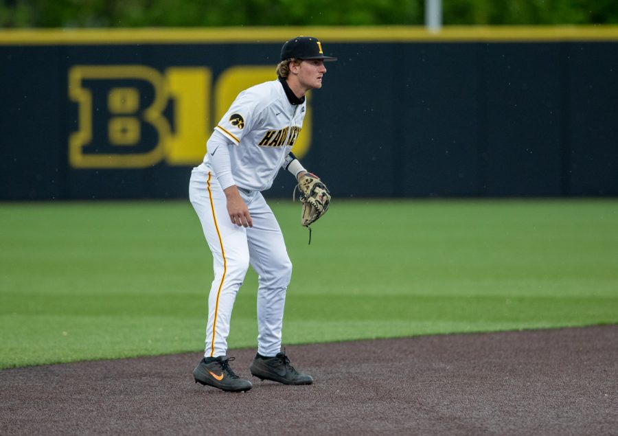 Iowa shortstop Brendan Sher gets set during a baseball game between Iowa and Illinois on Friday, May 14, 2021 at Duane Banks Field. The Hawkeyes defeated the Fighting Illini 5-4.