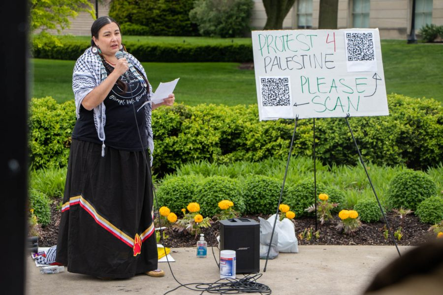 Sikowis Nobiss speaks at a protest for Palestine on May 15, 2021.