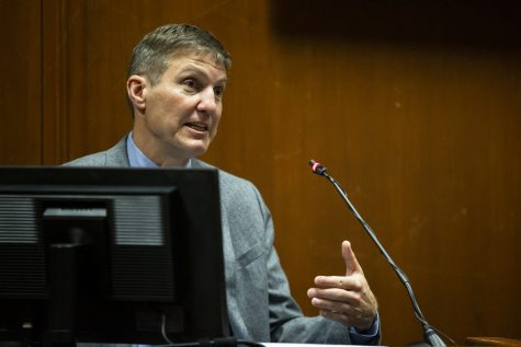 Iowa State Medical Examiner Dr. Dennis Klein answers questions from the witness stand during Cristhian Bahena Rivera
