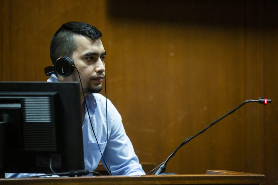 Cristhian Bahena Rivera testifies from the witness stand, on Wednesday, May 26, 2021, in the Scott County Courthouse, in Davenport, Iowa. Bahena Rivera is on trial after being charged with first degree murder in the death of Mollie Tibbetts in July 2018. (Pool Photo/Kelsey Kremer/Des Moines Register)