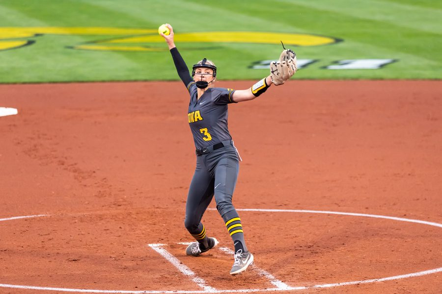 Iowa right-hand pitcher Allison Doocy pitches the ball during the Iowa Softball game against Illinois on May 14, 2021 at Bob Pearl Field. Iowa defeated Illinois 3-1.