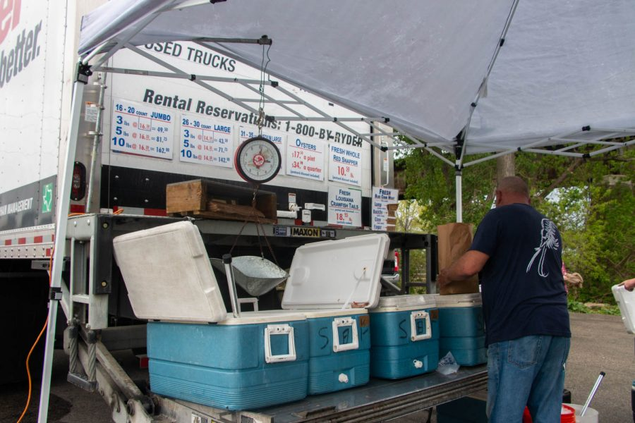 Fabian Seafood, from Galveston, Texas, has been coming to Iowa City, IA for around 45 years to sell shrimp, snapper, and other various seafoods. They are seen in Iowa City on May 3, 2021.