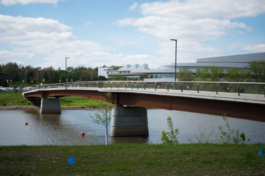 The pedestrian bridge by Hancher is seen Tuesday May 4, 2021. (Raquele Decker/The Daily Iowan)