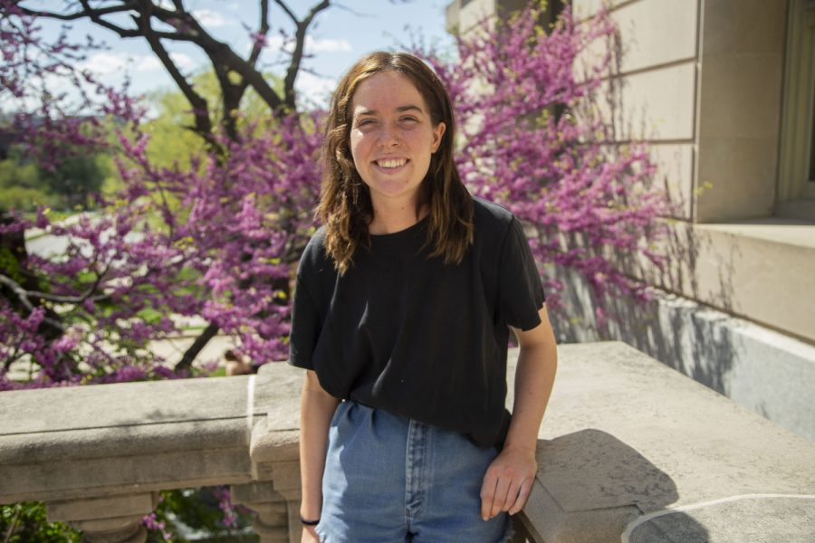 University of Iowa senior and Co-President of the University Environmental Coalition, Emily Manders, poses for a portrait on the Pentacrest on Sunday, May 2, 2021.