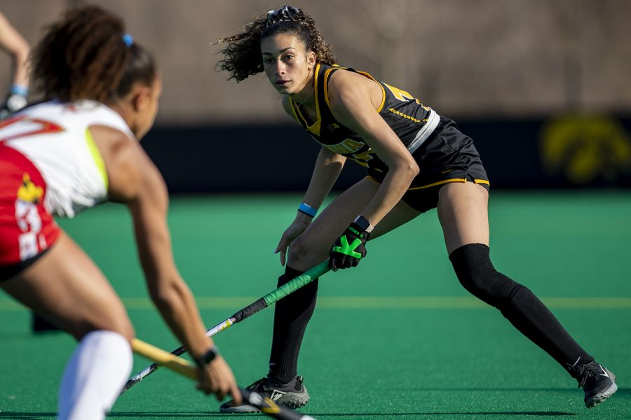 Iowa forward Ciara Smith watches for the ball during the fourth quarter of a field hockey game against Maryland on Friday, April 2, 2021 at Grant Field. The Hawkeyes were defeated by the Terrapins, 1-0. With two minutes left in the game, Iowa took their goalkeeper off the field in favor of adding another player on offense.