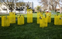 The Swarm on Monday April 26, 2021. The Bee Project located at 3rd St. S.E. in the NewBo district. People make their own bee and attach it to swarm.