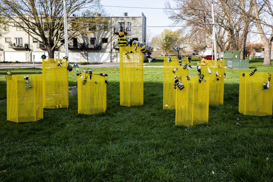 The+Swarm+on+Monday+April+26%2C+2021.+The+Bee+Project+located+at+3rd+St.+S.E.+in+the+NewBo+district.+People+make+their+own+bee+and+attach+it+to+swarm.