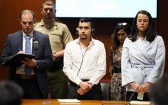 Cristhian Bahena Rivera stands as the verdict in the trial for the death of Mollie Tibbetts is read on May 28, 2021. Bahena Rivera was found guilty of first-degree murder. (Pool Photo/Associated Press)