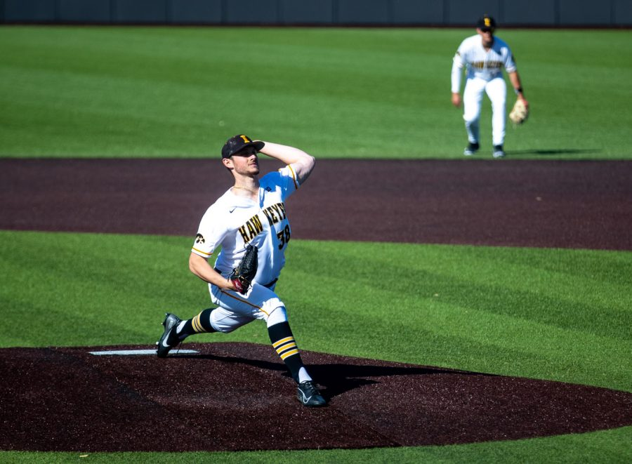 Iowa starting pitcher Trenton Wallace pitches during a baseball game between Iowa and Penn State on Friday, May 7, 2021 at Duane Banks Field. The Hawkeyes defeated the Nittany Lions 4-2. (Jerod Ringwald/The Daily Iowan)