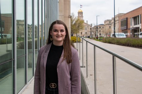 University of Iowa student Abby Crow poses for a portrait on April 20, 2021. Crow is majoring in human physiology and his the new student regent on the Iowa board of regents.