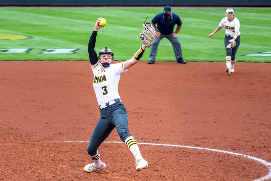 Iowa right-hand pitcher Allison Doocy pitches the ball during the Iowa Softball senior game against Illinois on May 16, 2021 at Bob Pearl Field. Iowa defeated Illinois 4-3. (Casey Stone/The Daily Iowan)