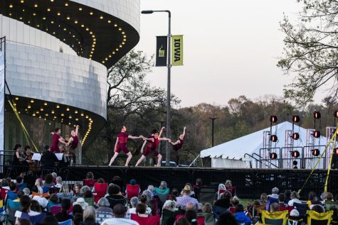 Members of Ballet Des Moines perform before a large crowd on Saturday, May 1, 2021. The event was part of Dance into Spring held at Hancher.
