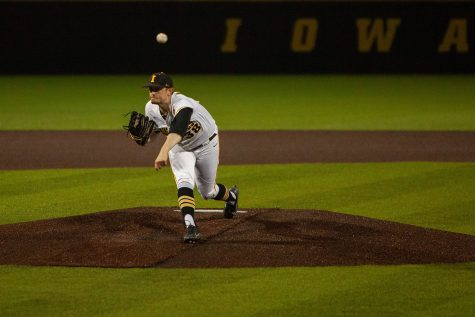 Iowa's Trenton Wallace pitches during a baseball game between Iowa and Maryland on Friday, April 23, 2021 at Duane Banks Baseball Stadium. The Hawkeyes defeated the Terrapins 6-2. (Ayrton Breckenridge/The Daily Iowan)