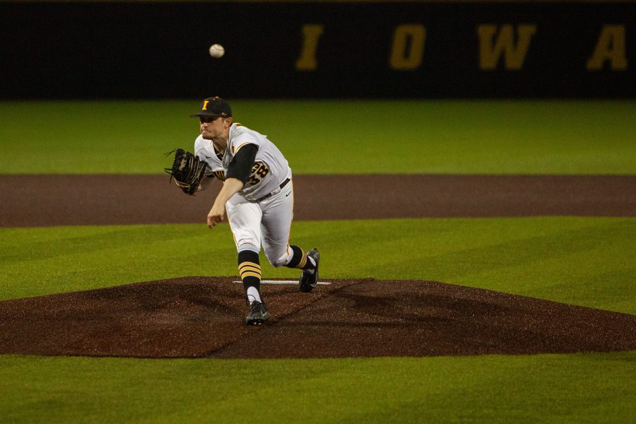 Iowa%E2%80%99s+Trenton+Wallace+pitches+during+a+baseball+game+between+Iowa+and+Maryland+on+Friday%2C+April+23%2C+2021+at+Duane+Banks+Baseball+Stadium.+The+Hawkeyes+defeated+the+Terrapins+6-2.+