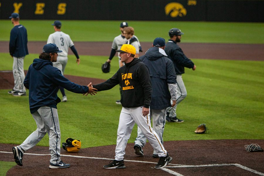 Iowa and Penn State coaches shake hands after a baseball game between Iowa and Penn State at Duane Banks Baseball Stadium on Saturday, May 8, 2021. The Nittany Lions defeated the Hawkeyes 5-4.