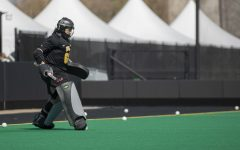 Iowa goalkeeper Grace McGuire practices before the Big Ten field hockey tournament semifinals against No. 1 Michigan on Thursday, April 22, 2021 at Grant Field. The Hawkeyes were defeated by the Wolverines, 0-2. Michigan will go on to play against No. 7 Ohio State in the championships on Saturday.