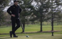 Iowa's Mac McClear watches other players on the green during the men's golf Hawkeye Invitational on Saturday, April 17, 2021 at Finkbine Golf Course.