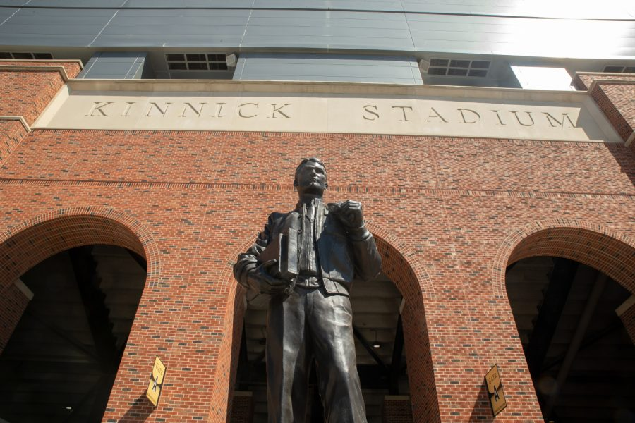 The statue of Nile Kinnick is seen outside of Kinnick Stadium on May 5, 2021.