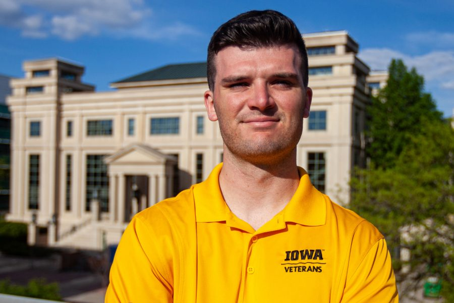 Graduating student veteran, Paul Richards, poses for a portrait outside of Calvin Hall on May 4, 2021.