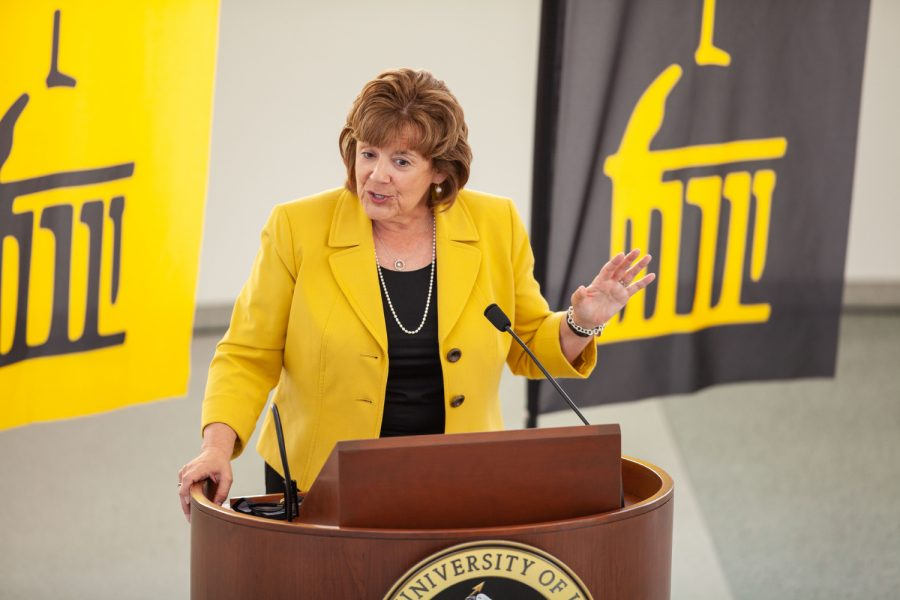 The new University of Iowa President Barbara Wilson speaks to reporters at a press conference in the Levitt Center for University Advancement on April 30, 2021. Wilson becomes the 22nd president for the University of Iowa and was previously the Executive Vice President and Vice President for Academic Affairs for the University of Illinois.