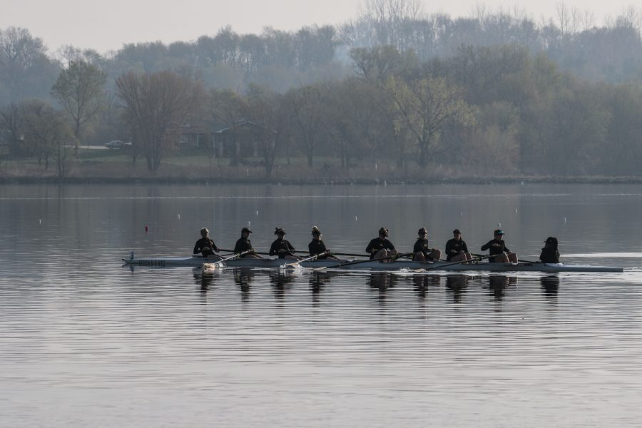 On+the+lake+on+Saturday%2C+April+24%2C+2021.+University+of+Iowa+2+Novice+8+rowing+team+gets+an+early+warmup.+The+Hawkeyes+won+with+a+time+of+7%3A14.50.+