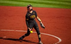 Iowa's Allison Doocy pitches during a softball game between Iowa and Northwestern at Bob Pearl Softball Field on Saturday, April 17, 2021. The Wildcats defeated the Hawkeyes 9-7.