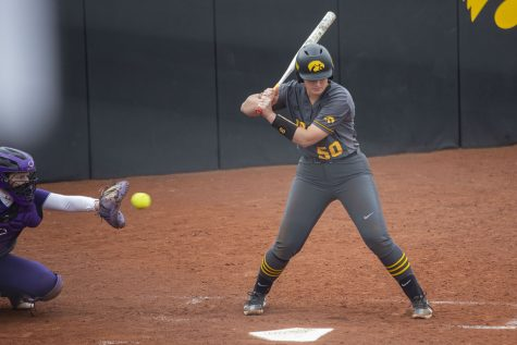 Iowa infielder, Kalena Burns, attempts to hit the ball during the Iowa softball game v. Northwestern at Pearl Field on Friday, April 16, 2021. The Wildcats defeated the Hawkeyes with a score of 7-0. (Grace Smith/The Daily Iowan)