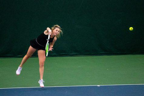 Iowa's Alexa Noel returns the ball during a women