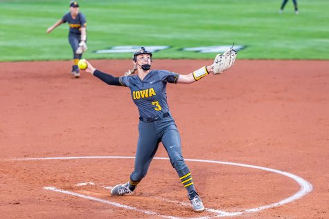 Iowa right-hand pitcher Allison Doocy pitches the ball during the Iowa Softball game against Illinois on May 14, 2021 at Bob Pearl Field. Iowa defeated Illinois 3-1. (Casey Stone/The Daily Iowan)