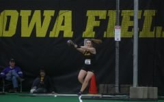 Iowa thrower Amanda Howe competes in the women's weight throw during the Hawkeye Invitational at the Hawkeye Tennis and Recreation Complex on Friday, Jan 10, 2020. Howe won the event with a throw of 18.89m.