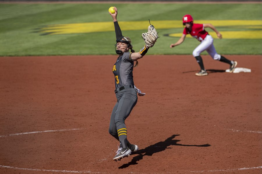 Iowa+right+handed+pitcher+Allison+Doocy+throws+the+ball+during+a+softball+game+against+Nebraska+on+Friday%2C+May+7%2C+2021+at+Pearl+Field.+The+Hawkeyes+defeated+the+Huskers%2C+1-0.