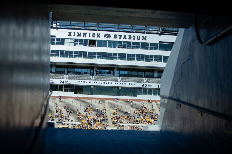 Fans+sit+in+Kinnick+Stadium+during+a+spring+football+practice++on+Saturday%2C+May+1%2C+2021.