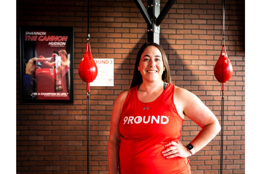 9Round+30+Min+Kickboxer+Fitness+Owner+Jennifer+%28Jen%29+Hoeger+takes+timeout+to+pose+for+a+pictureon+Monday%2C+June+15+2021.+Hoeger+is+also+one+of+the+trainers+at+9Round.