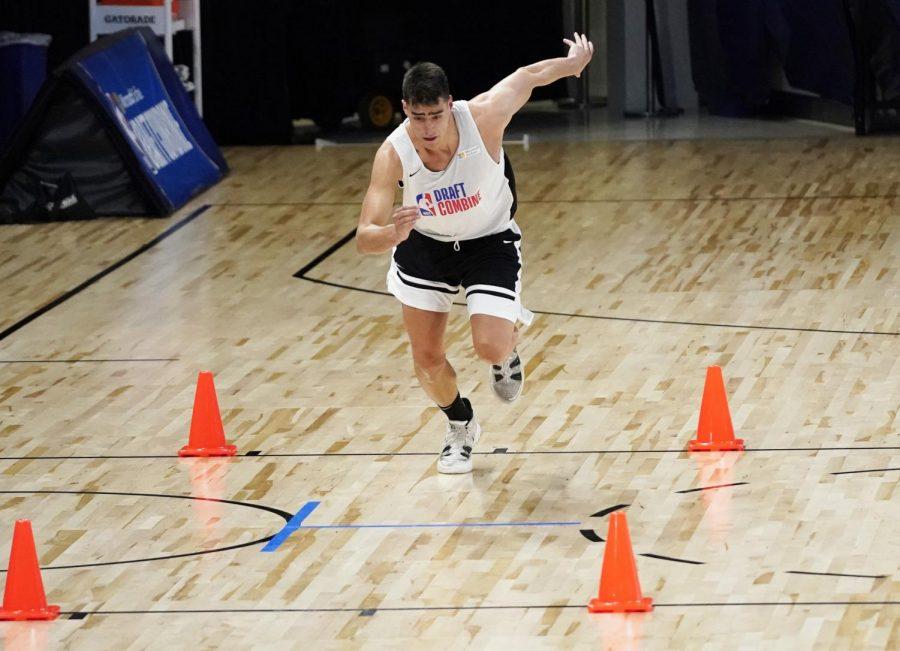 Jun 23, 2021; Chicago, Illinois, USA; Iowa s Luka Garza participates during the NBA Draft Combine at Wintrust Arena.Mandatory Credit: David Banks-USA TODAY Sports