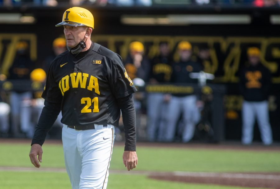 Iowa head coach Rick Heller walks back to the coaching box after disputing a call with the home plate umpire during a baseball game between Iowa and Maryland on Saturday, April 24, 2021 at Duane Banks Field. The Terrapins defeated the Hawkeyes 8-6.