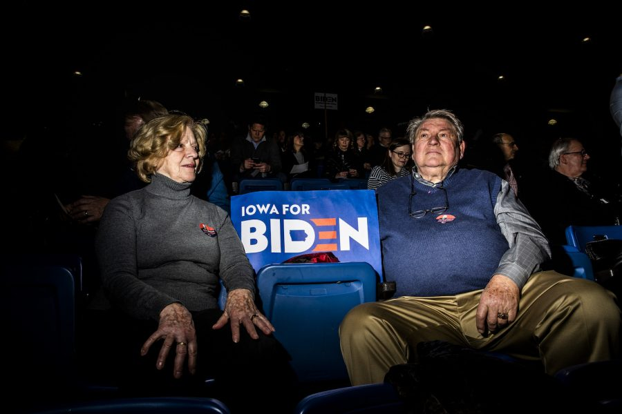 Supporters of Former Vice President Joe Biden Nancy Welch (left) and Gary Schnieder wait for the results during the caucus at Des Moines Precinct 62 in the Knapp Center on Monday, February 3, 2020. The caucus head count reached 849 people, leaving 127 individuals needed for the candidate to be declared viable.