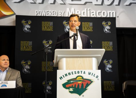 Minnesota Wild General Manager Bill Guerin talks at press conference held at the Xtream Arena on Thursday June,17, 2021. Guerin was in Coralville to announce the new affiliation with the NHL, Minnesota Wild and the Coralville ECHL team Heartlanders hockey team.