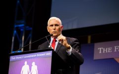 Former Vice President Mike Pence addresses the crowd during The Family Leadership Summit in Des Moines on Friday, July 16, 2021. Pence said his favorite encounters with Americans were when people mentioned they were praying for him.