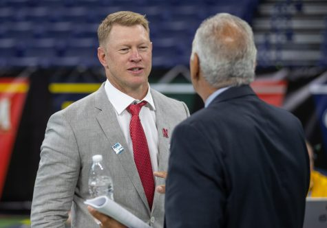 Nebraska head coach Scott Frost talks with Big Ten Network football analyst Gerry DiNardo during day one of Big Ten Media Days at Lucas Oil Stadium in Indianapolis, Indiana, on Thursday, July 22.