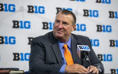 Illinois head coach Bret Bielema listens to a question during day one of Big Ten Media Days at Lucas Oil Stadium in Indianapolis, Indiana, on Thursday, July 22.