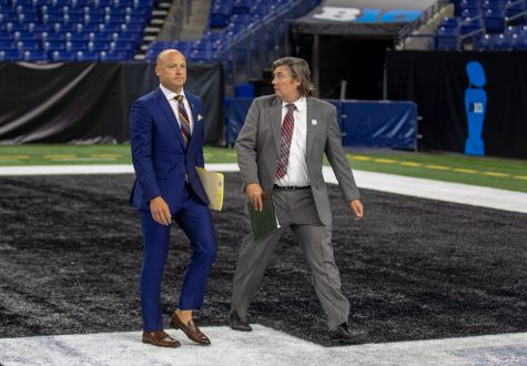 Minnesota head coach P.J. Fleck walks off the field during day one of Big Ten Media Days at Lucas Oil Stadium in Indianapolis, Indiana, on Thursday, July 22.